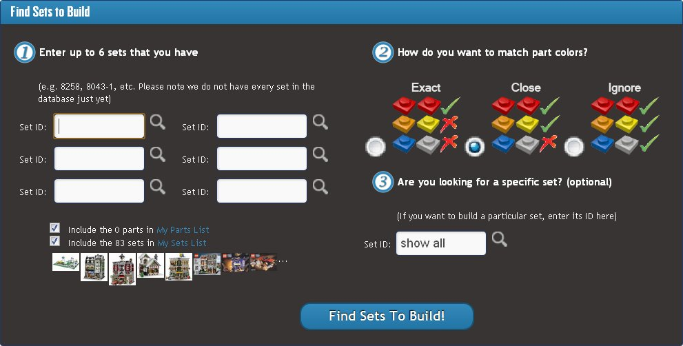 Rebrickable search interface